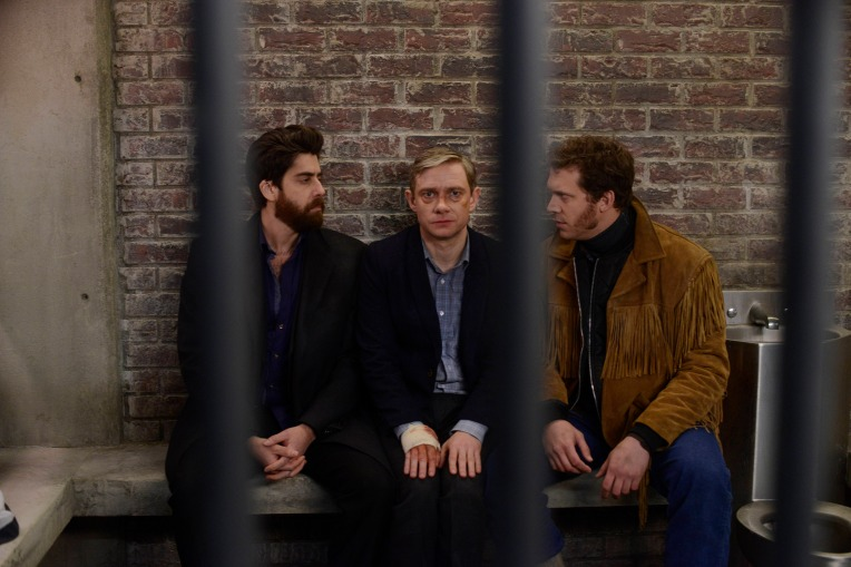 """FARGO """"The Six Ungraspables"""" -- Episode 105 -- Airs Tuesday, May 13, 10:00 pm e/p) -- Pictured: (L-R) Adam Goldberg as Mr. Numbers, Martin Freeman as Lester Nygaard, Russell Harvard as Mr. Wrench -- CR: Chris Large/FX"""